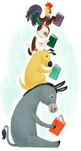 cartoon animals reading books