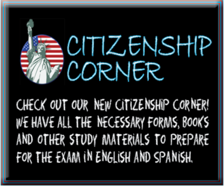 citizenship corner is a collection of books and other materials, in english and spanish, to assist individuals with the United States citizenship test.