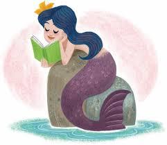 mermaid reading a book